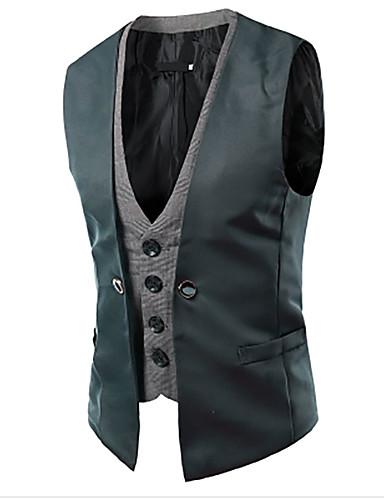 abordables Blazers & Costumes Homme-Débardeur Homme, Mosaïque Mince Noir & Blanc Rouge L / Sans Manches / Travail / Affaires formelles