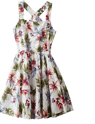 Žene Plaža Slim A kroj Haljina S naramenicama Iznad koljena / Ljeto