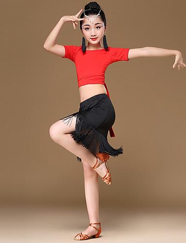 91d85685fb0b Latin Dance Outfits Girls' Performance Milk Fiber / Ice Silk Pattern /  Print / Ruching / Tassel Short Sleeve Natural Skirts / Top