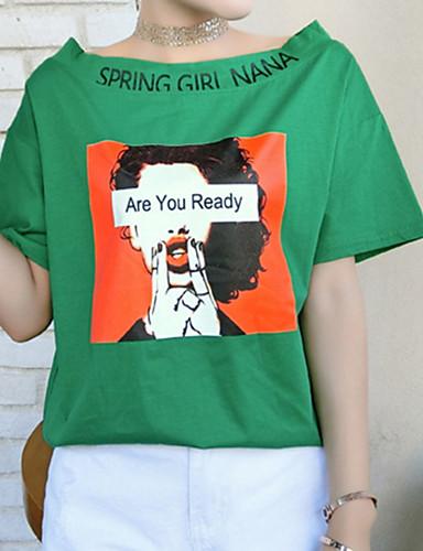 Majica s rukavima Žene Dnevno Pamuk Geometrijski oblici / Slovo Lađa izrez