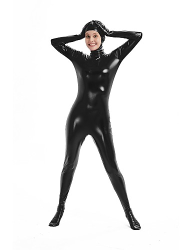 Zentai Suits Cosplay Costume Catsuit Adults' Cosplay Costumes Sex Black Solid Colored Spandex Lycra Elastic Men's Women's Halloween Carnival Masquerade / High Elasticity / Skin Suit