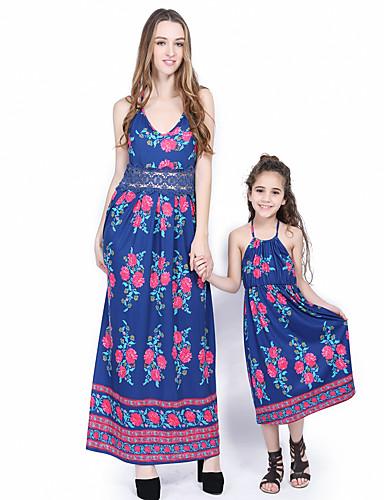 Djeca / Dijete koje je tek prohodalo Mama i mene Osnovni / slatko Izlasci Cvjetni print / Color block Print Bez rukávů Maxi Maxi Kombinezon