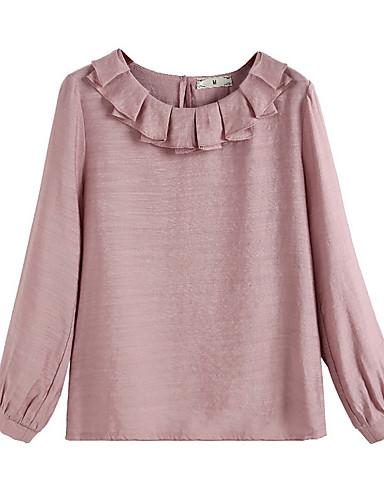 billige Dametopper-Bomull Bluse Dame - Ensfarget Grunnleggende Dusty Rose Rosa