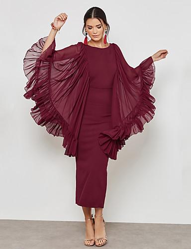 cheap New Arrivals-Women's Plus Size Party / Work Street chic / Sophisticated Maxi Slim Sheath Dress - Solid Colored Mesh / Split High Waist Summer Green Red XL XXL XXXL / Sexy