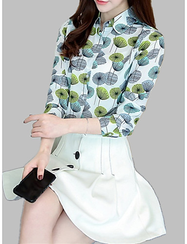 Majica Žene Dnevno Cvjetni print / Geometrijski oblici Kragna košulje Slim, Print / Svila