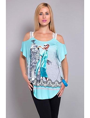 billige Dametopper-Bomull Enskuldret Store størrelser T-skjorte Dame - Geometrisk Grønn
