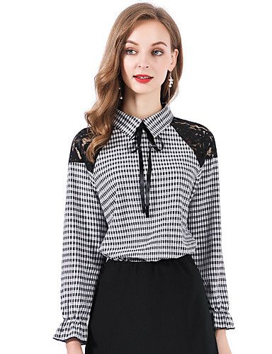billige Kvinde Toppe-Dame - Ensfarvet Bomuld Skjorte Grå