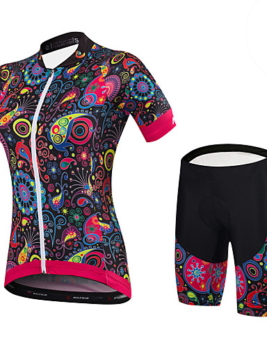 cheap Cycling Clothing-Malciklo Women's Short Sleeve Cycling Jersey with Shorts - Black Bike Clothing Suit Sports Spandex Bamboo-carbon Fiber Coolmax® Floral / Botanical Mountain Bike MTB Road Bike Cycling Clothing Apparel
