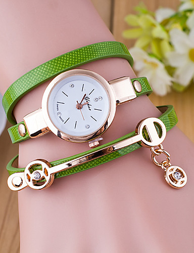 cheap Bracelet Watches-Women's Ladies Bracelet Watch Wrap Bracelet Watch Quartz Wrap Leather Black / White / Blue Casual Watch Analog Fashion - Green Blue Dark Green