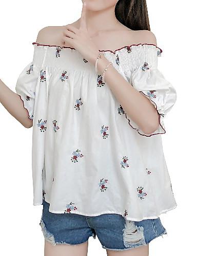 Majica s rukavima Žene Dnevno / Izlasci Pamuk Cvjetni print Lađa izrez