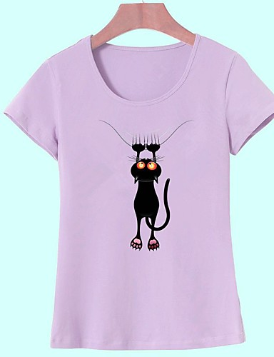 abordables Hauts pour Femmes-Tee-shirt Femme, Animal - Coton Imprimé Sortie Basique Chat Vert Claire