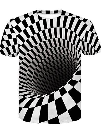 cheap Men's Tees & Tank Tops-Men's Basic / Street chic T-shirt - Color Block / 3D Black & White, Print