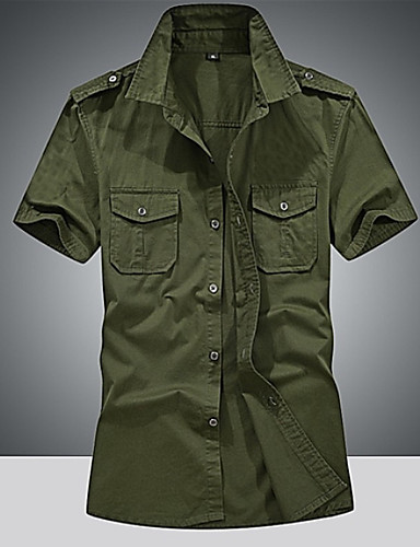cheap Men's Summer Shirts-Men's Daily Going out Military Cotton Shirt - Solid Colored Army Green / Short Sleeve / Summer