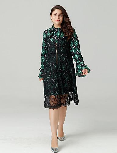 Žene Osnovni Slim A kroj Haljina - Kolaž, Geometrijski oblici / Color block Ruska kragna Iznad koljena / Proljeće