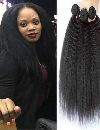 baratos Liquidação-3 pacotes Cabelo Brasileiro Kinky Liso 10A Cabelo Virgem Extensões de Cabelo Natural 8-28 polegada Preta Côr Natural Tramas de cabelo humano Para Mulheres Negras 100% Virgem Extensões de cabelo humano