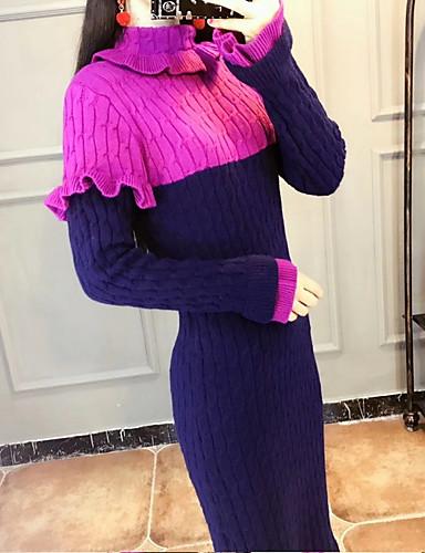 abordables Robes Femme-Femme Midi Mince Tricot Robe Taille haute Col Roulé Violet S M L Manches Longues