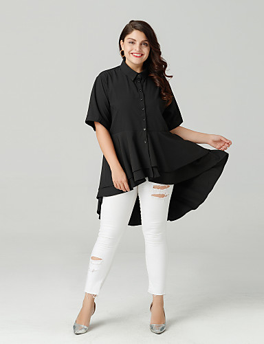abordables Hauts pour Femmes-Chemise Grandes Tailles Femme, Couleur Pleine Sortie Col de Chemise