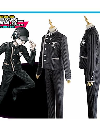 """billige Anime cosplay-Inspirert av Dangan Ronpa Saihara Shuuichi Anime  """"Cosplay-kostymer"""" Cosplay Klær Stribe Frakk / Bukser / Hatt Til Herre"""