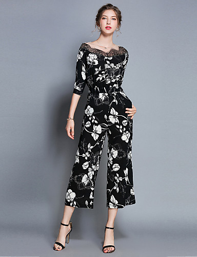 15978bb0317 Women s Daily   Going out Street chic Black Wide Leg Jumpsuit