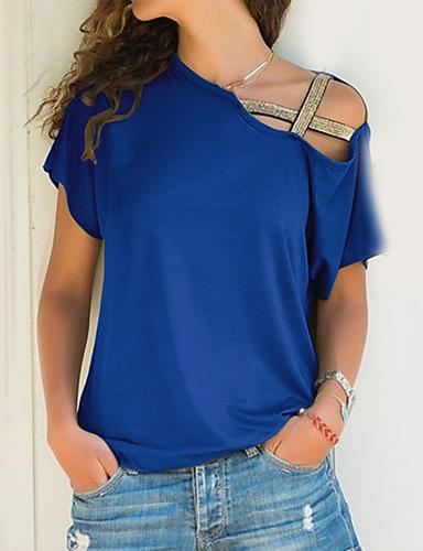billige Dametopper-Løse skuldre Store størrelser T-skjorte Dame - Ensfarget Fuksia / Sommer