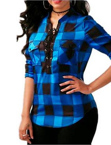 44e424b2a3dd Γυναικεία Μεγάλα Μεγέθη Πουκάμισο Βασικό Ριγέ Όρθιος Γιακάς Με Κορδόνια Μπλε    Άσπρο   Μαύρο   Κόκκινο Θαλασσί XXXL   Άνοιξη   Φθινόπωρο