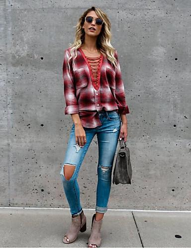 billige Dametopper-Løstsittende Dyp V T-skjorte Dame - Fargeblokk Grunnleggende Blå M / Sexy