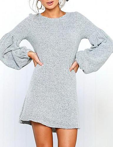 08e1a1bd570 Femme Manches Lanterne Mini Tricot Robe Couleur Pleine Orange Gris Vin M L  XL Manches Longues
