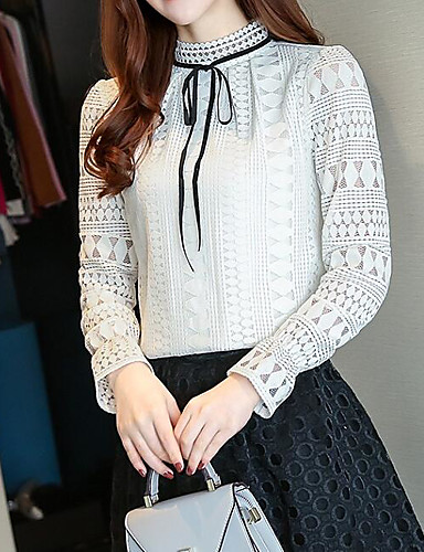 4dfc043aa8df Women s Going out Basic   Street chic Lantern Sleeve Cotton Slim Blouse -  Solid Colored Lace   Cut Out   Lace up Stand White L