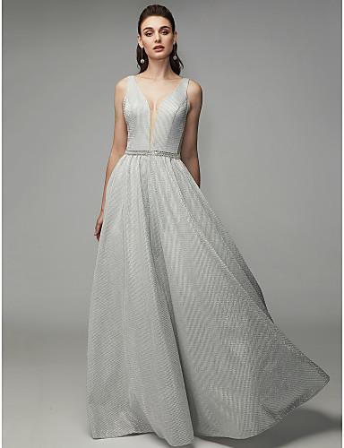 billige Feriekjoler-A-linje Stikkende halslinje Gulvlang POLY Glitrende Formell kveld Kjole med Plissert av TS Couture®