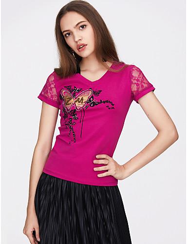 abordables Hauts pour Femmes-Tee-shirt Femme, Fleur - Coton Dentelle / Imprimé Basique Col en V Mince Blanche / Eté
