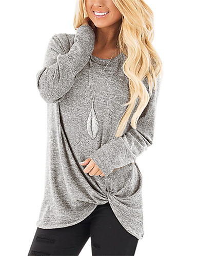 billige Dametopper-Løstsittende Løse skuldre Store størrelser T-skjorte Dame - Ensfarget Vintage / Gatemote Vin / Høst / Sexy