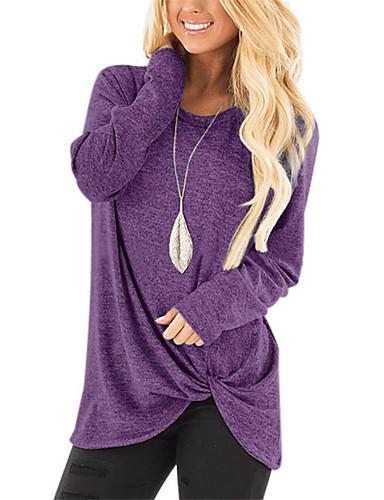 billige Topper til damer-Løstsittende Løse skuldre Store størrelser T-skjorte Dame - Ensfarget Vintage / Gatemote Vin / Høst / Sexy