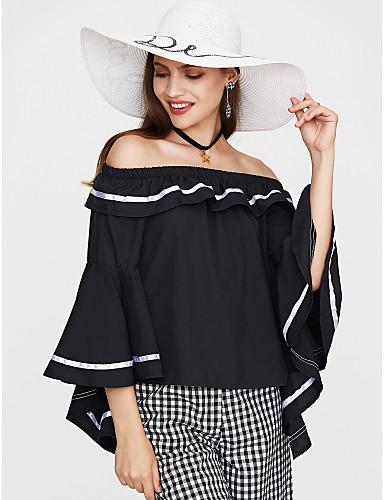billige Dametopper-Bomull Løse skuldre T-skjorte Dame - Ensfarget Dusty Rose Svart / Drapering