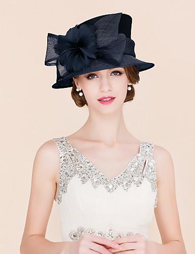 abordables Chapeau & coiffure-Lin / Plume / Satin Kentucky Derby Hat / Fascinators / Chapeaux avec 1 Mariage / Occasion spéciale / Décontracté Casque