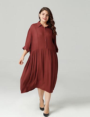 billige Kjoler-Dame Løstsittende A-linje Kjole Skjortekrage Knelang