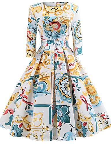 abordables Robes Femme-Femme Sortie Rétro Vintage Elégant Mi-long Mince Balançoire Robe - Imprimé, Fleur Printemps Eté Blanc L XL XXL Coton Demi Manches