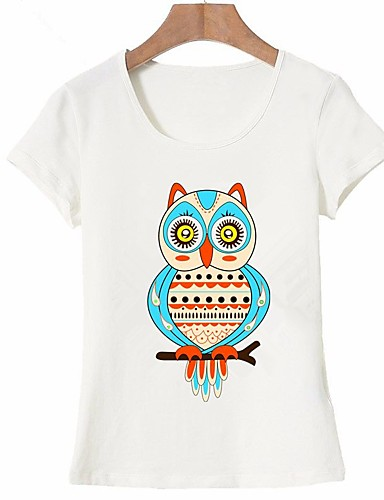 abordables Hauts pour Femme-Tee-shirt Femme, Animal - Coton Imprimé Sortie Basique Blanche