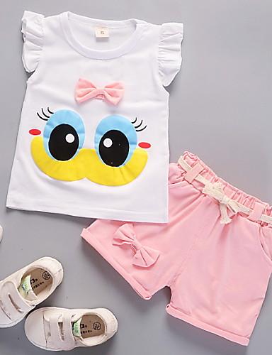 مجموعة ملابس قطن بدون كم شريطة طباعة / أحرف أساسي للفتيات طفل / طفل صغير