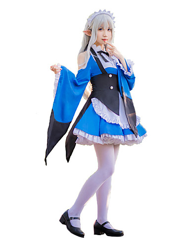 Inspired by Re Zero Starting Life in Another World Maid Costume   Emilia Anime  Cosplay Costumes Cosplay Suits Bowknot Cravat   Dress   Collar For Women s 8af5e8b32