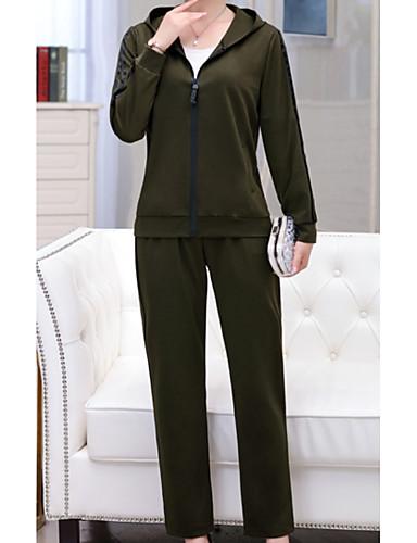 abordables Hauts pour Femmes-Femme Set - Rayé Pantalon Capuche