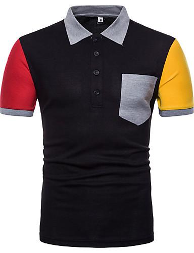 voordelige Herenpolo's-Heren Polo Katoen, Sport Kleurenblok Overhemdkraag Wit / Korte mouw