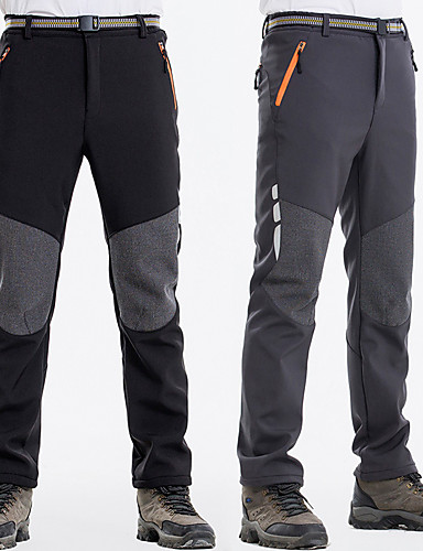 cheap Hiking Trousers & Shorts-Men's Hiking Pants Outdoor Windproof Fleece Lining Warm Quick Dry Autumn / Fall Winter Pants / Trousers Hunting Fishing Hiking Black Dark Grey XXL XXXL 4XL / Stretchy / Anatomic Design