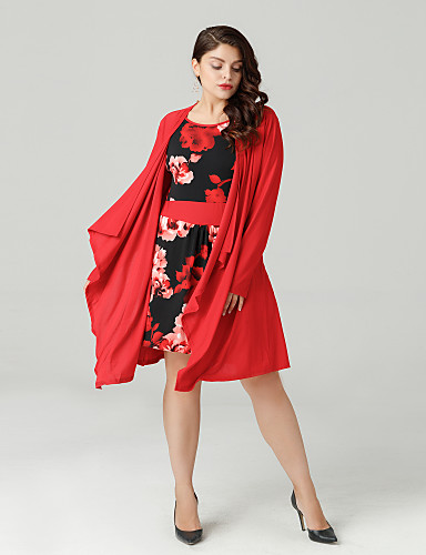 billige Topper til damer-Store størrelser T-skjorte Dame - Blomstret Ut på byen