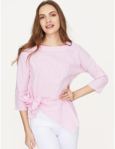 billige Dametopper-Skjortekrage / Firkantet hals T-skjorte Dame - Ensfarget, Sløyfe Gatemote Arbeid Rosa / Vår / Sommer