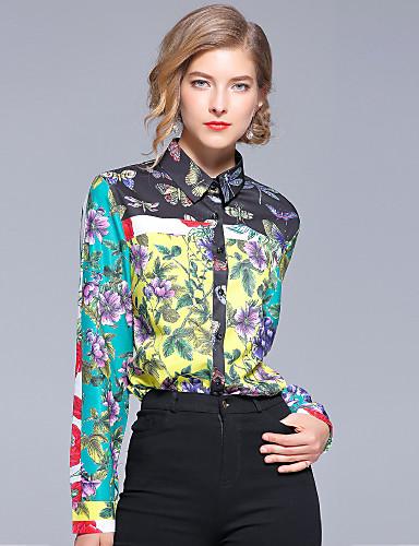 Ordinato Camicia Per Donna Ufficio Attivo - Moda Città Con Stampe, Fantasia Floreale Colletto #06864491