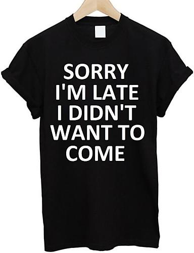 billige Bogstaver-Rund hals Herre - Bogstaver Basale T-shirt Hvid L / Kortærmet