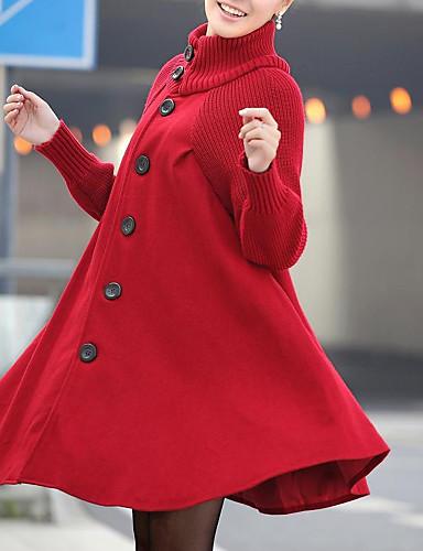 voordelige Damesjassen & trenchcoats-Dames Dagelijks Standaard / Street chic Herfst winter Lang Jas, Effen Coltrui Lange mouw Spandex Zwart / Rood / Donkergrijs / Ruimvallend