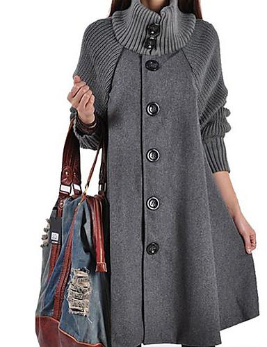 저렴한 여성 아웃웨어-여성용 일상 베이직 / 스트리트 쉬크 가을 겨울 긴 코트, 솔리드 터틀넥 긴 소매 스판덱스 블랙 / 루비 / 다크 그레이 / 루즈핏