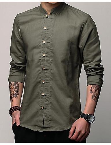 e7b2fa8e3 Men's Daily Cotton / Linen Shirt - Solid Colored Dark Gray L / Short Sleeve  6841913 2019 – $18.69