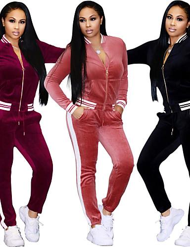 d8241673cf91 Χαμηλού Κόστους Τρέξιμο-Γυναικεία Φόρμα Sweatsuit Μαύρο Ροζ Μπορντώ  Αθλητισμός Ριγέ Velour Παντελόνι για στίβο